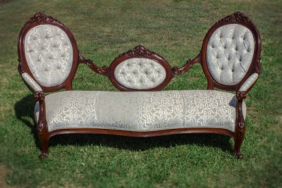 Upholstered Antique Deep Button Settee