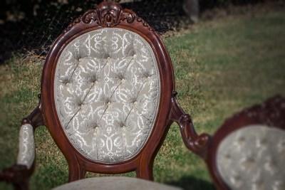 Antique Deep Button Settee Detail