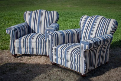 Blue White Stripe Upholstered Club Sofa