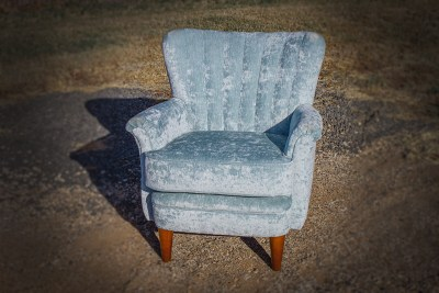 Fluted Upholstered Velvet Arm Chair