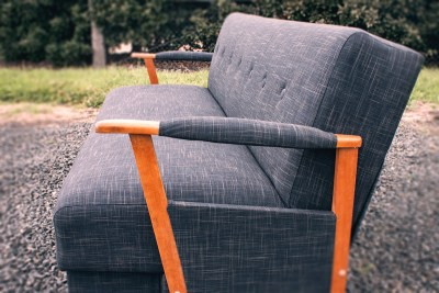 Grey Retro Converter Side View Upholstered by Chic Upholstery