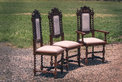Jacobean Hand Carved Dining Chairs with Velvet Upholstery done by Chic Upholstery