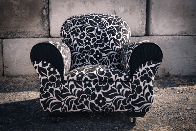 Retro Chic Club Chair in Damask fabric