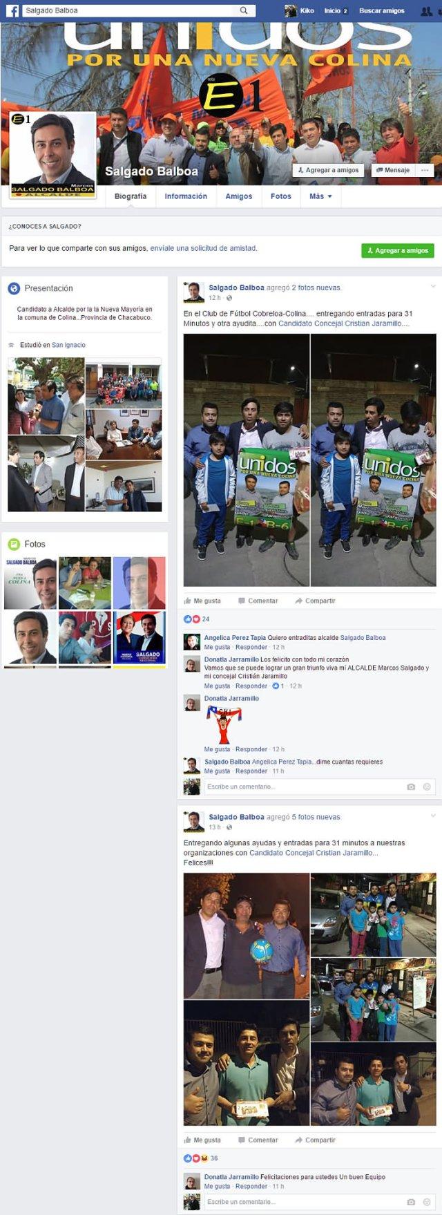 Perfil en Facebook del candidato Salgado