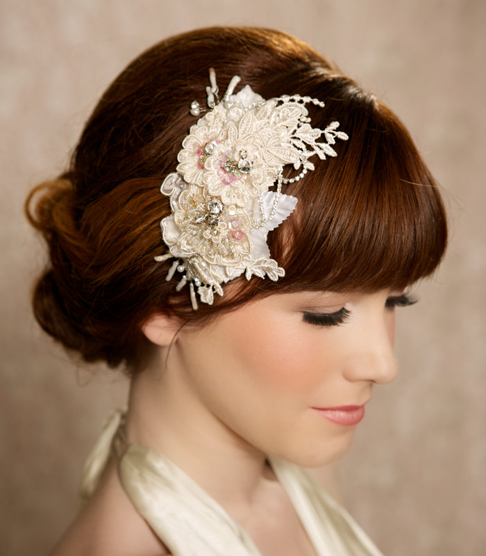 traci champagne lace and crystal bridal hair piece from gilded shadows