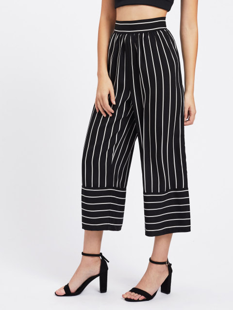 Culottes for Girls and Ladies - Black Culotte Pants - Black and White Stripes 2