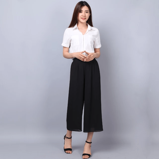 Culottes for Women High Waist Black Culotte Pants -Thin Bilayer Chiffon Net-Yarn Splicing 2