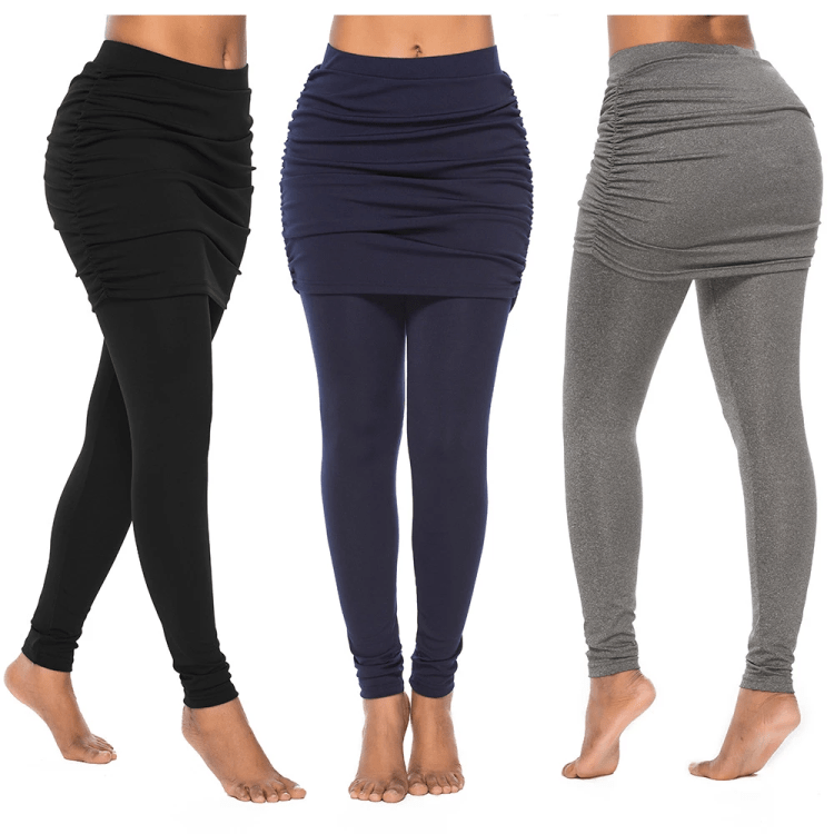 High Waist Skirted Leggings with Attached Ruched Side Mini Skirt
