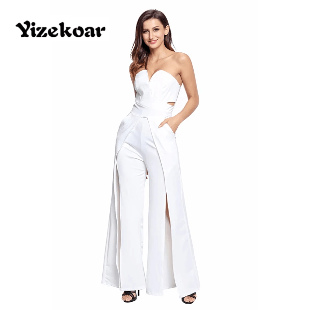 Jumpsuit with High-Slit Legs - Strapless Jumpsuit Wide Long Pants for Women Split Legs (8)