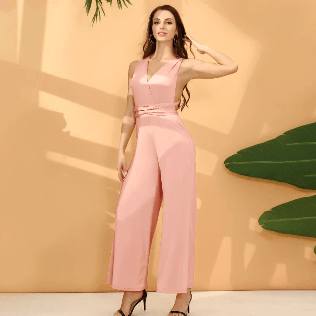 Jumpsuit with Wide Long Legs - Sleeveless Jumpsuit for Women (2)