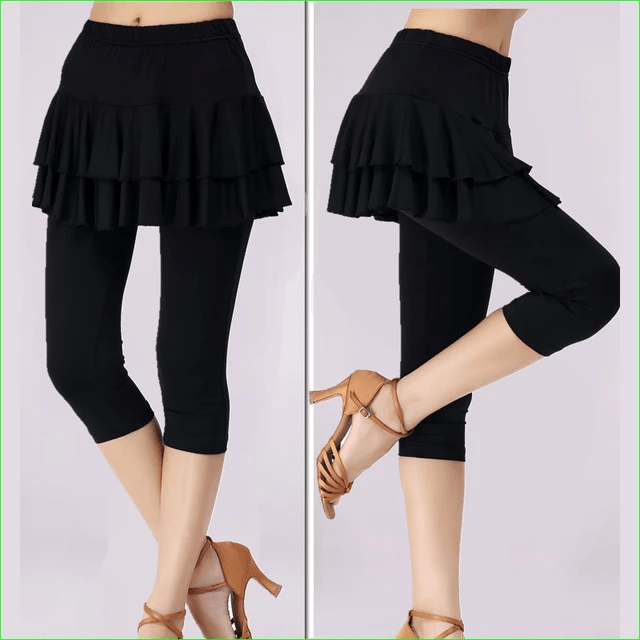 Skirted Leggings Tights for Dance Tennis and Badminton Double Layer