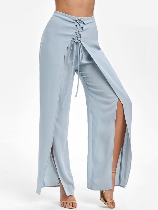 Wide Leg - Long High-Slit Overlay Pants for Women with Split Legs (2)