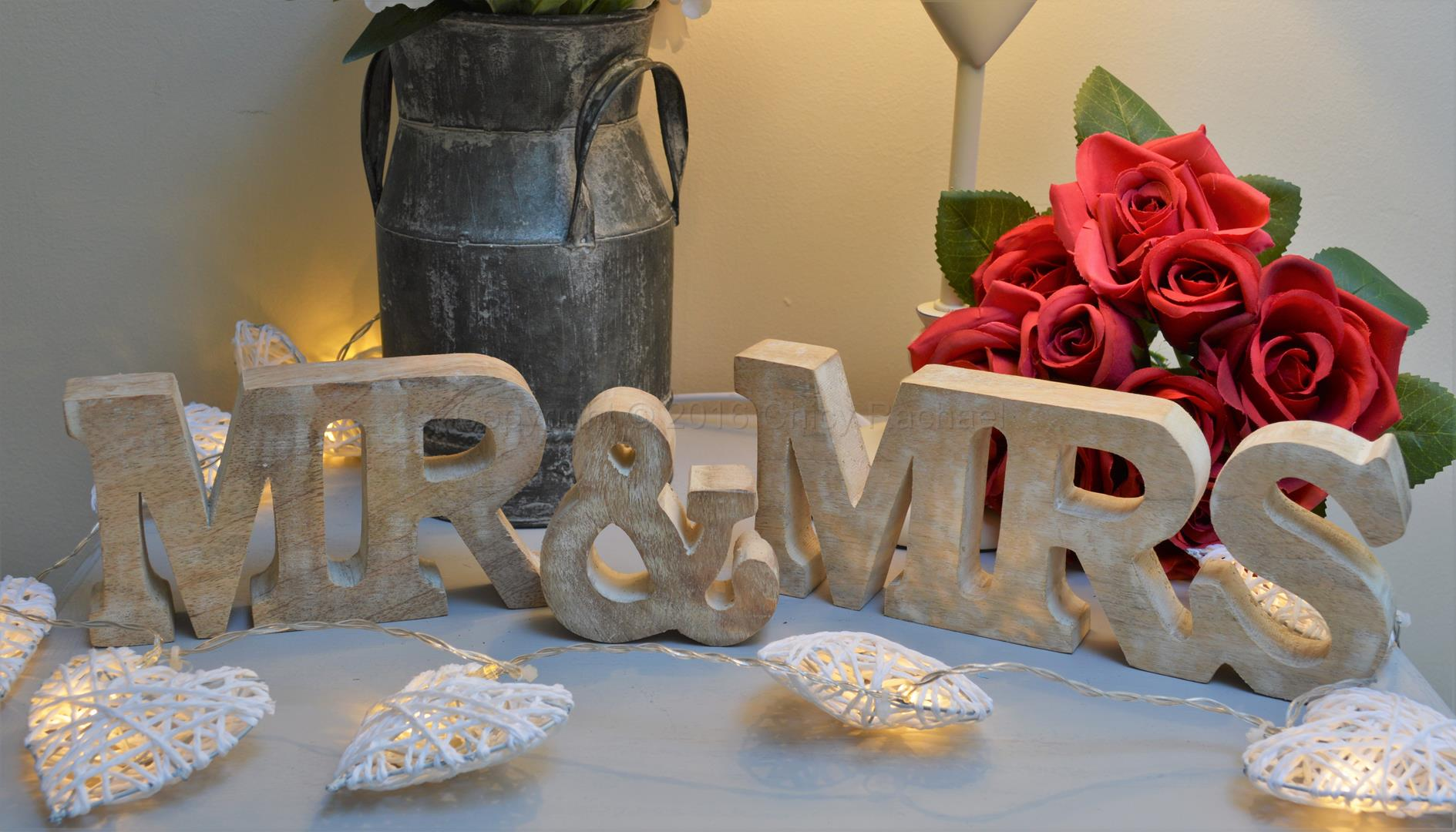 Mr & Mrs Wooden Cut Out Letters
