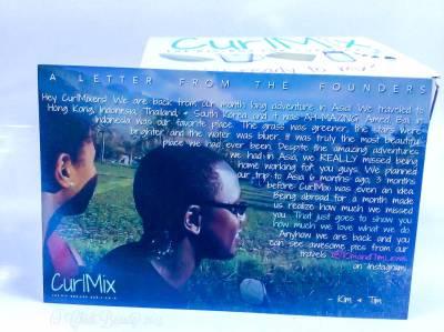 CurlMix Subscription Box - November 2015 Kim & Tim Letter