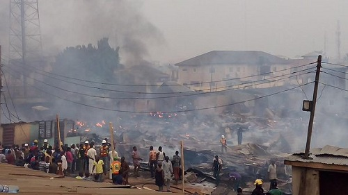 Fire kills couple, three kids in Lagos shop
