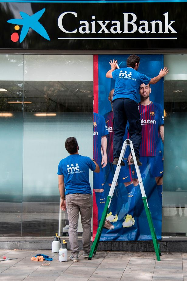 A post of Neymar was ripped down outside of the Nou Camp (Image: Getty)