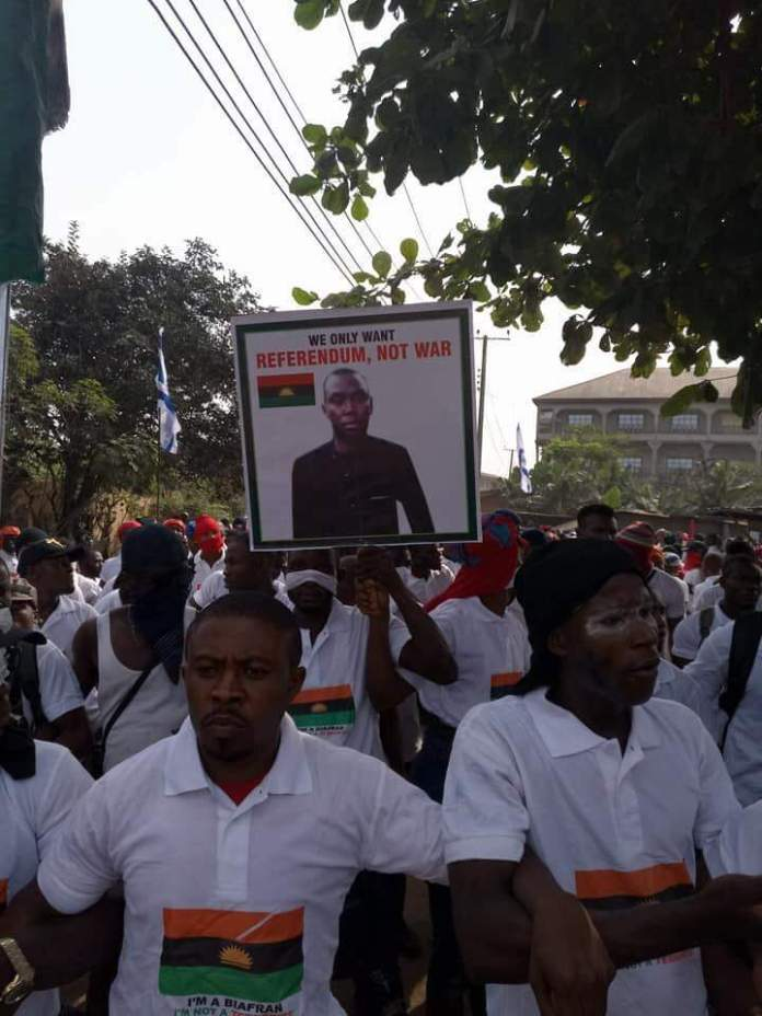Aba stood still as thousands of  IPOB members protest