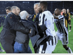 SPORTShock as POAK owner charges at referee with gun for disallowing goal [Video/Photos]