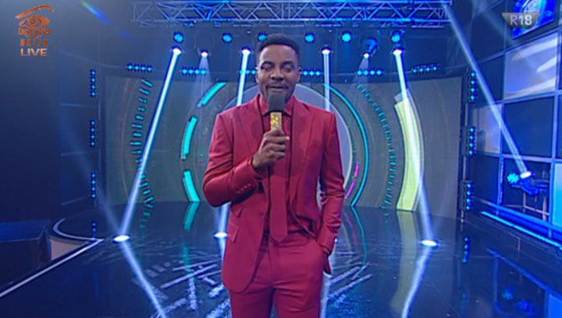 Ebuka on Red suit like Kanayo