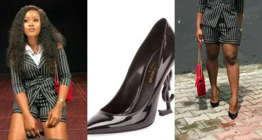 BBNaija Cee-c looks amazing as she rocks a N348,000 Black YSL-Heel Pump - Photos