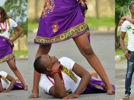 Man peeps his fiancee's pant as she opens it wide in a pre-wedding photo shoot