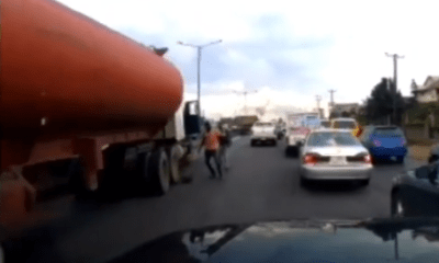 Video from a Dashboard cam showing moments before the Otedola Bridge tanker explosion