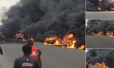 Watch Videos of Tanker explodes around Otedola bridge, Lagos/Ibadan expressway