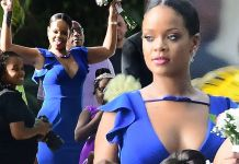 Rihanna is the best bridesmaid EVER in plunging dress at BFF Sonita Alexander's wedding in Barbados