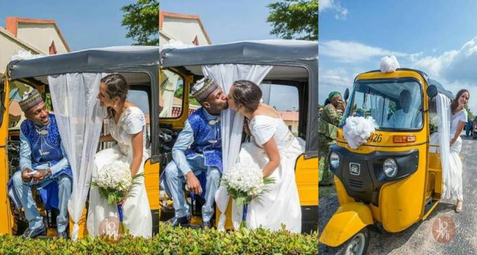 Hilarious! Nigerian man and his American bride wed with tricycle (Photos)