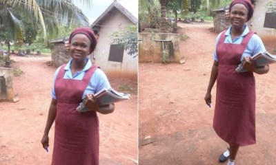 Hilarious: Nigerian woman returns to secondary school after child bearing