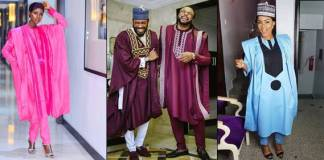 Nigerian celebrities step out in various Agbada styles to AY Movie Premiere (Photos)