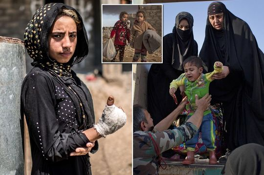 ISIS' child victims: Crying kids flee homes, suffer bomb injuries and sleep in smoke-filled homes in powerful images