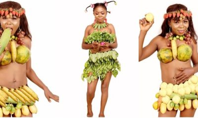 Hilarious: Nollywood costumer goes topless with cucumber on birthday Photos