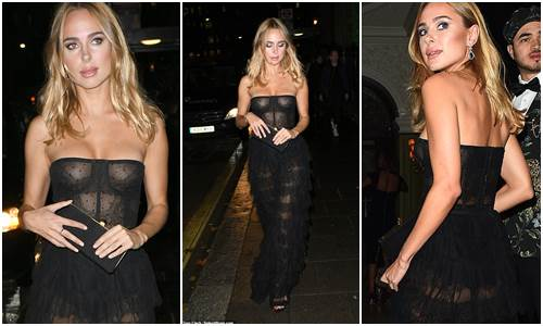Kimberley Garner goes braless in sheer corset dress at the International Day Of Girl Gala in London