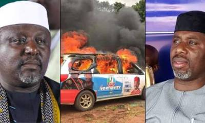 Youths Raze Down Gov Okorocha's Son-In-Law's Campaign Vehicles