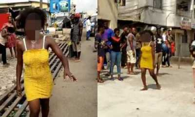 Lady runs mad after allegedly sleeping with married man (Photos)