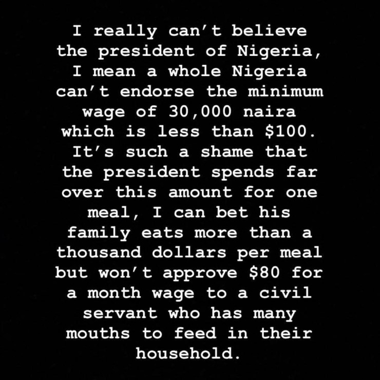 """Buhari's family eats more than a thousand dollars per meal but he can't approve N30k minimum wage for civil servants"" Hushpuppi"