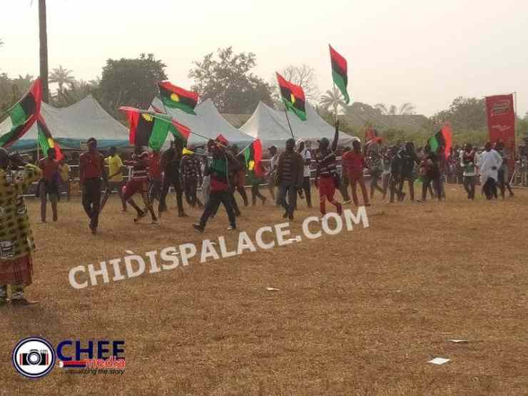 IPOB members storm Oji Mbaise venue insist on 'No Election in Biafra land' (Credit: CHEEMedia, Chidispalace)