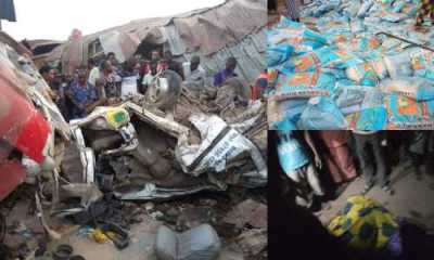 Truck carrying APC-branded bags of rice crushes dozens to death in Ekiti (Photos)