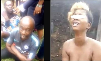 Men who tortured lady over missing iPhone and inserted pepper into her private part, paraded (videos)