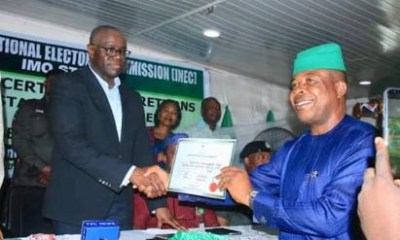 Imo state governor-elect, Emeka Ihedioha receives certificate of return from INEC