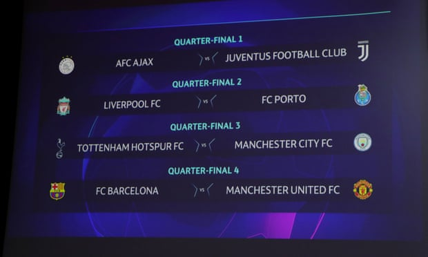 UEFA Champions League: Spurs v Man City and Barça v Man Utd in last eight – live!