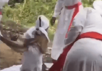 Disturbing video of a child being flogged with broom by clergyman and women conducting deliverance on her