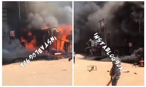 Popular Ochanja market on fire as fuel tanker falls, explodes in Onitsha (video)
