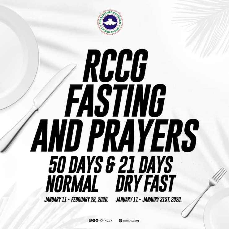 RCCG 2020 Fasting and Prayer Points Guideline