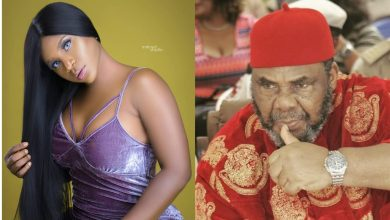Reactions as Pete Edochie was filmed hugging Destiny Etiko from behind