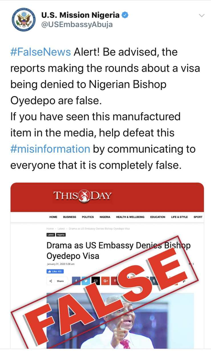 What US Embassy said about denying Bishop Oyedepo Visa