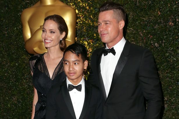 Actress-Angelina-Jolie-Maddox-Jolie-Pitt-and-actor-Brad-Pitt