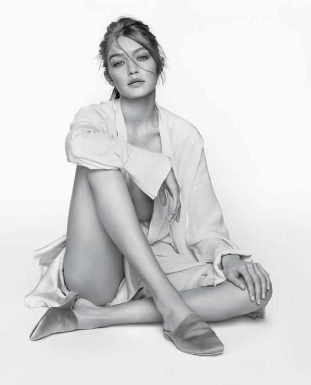 Supermodel Gigi Hadid looks effortlessly beautiful as she poses for the Stuart Weitzman Spring campaign