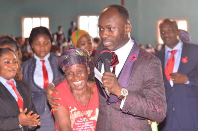 Apostle Johnson Suleman places elderly woman On N50k lifetime salary
